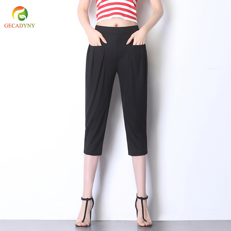 Pants     Capris   2019 New Women Casual Harem   Pants   High Waist Dance   Pants   Loose Plus Size Seven Points   Pants   Calf-Length   Pants   S-6XL