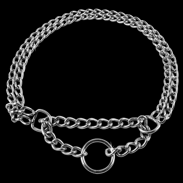Metal Stainless Steel Chain Martingale Dog Collar Double Row Chrome Plated Choke Training Show Collar Adjustable Safety Control