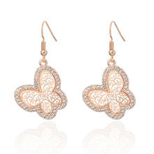 New fashion hollow butterfly inlaid crystal environmental alloy earrings not allergic copper ear hook accessories