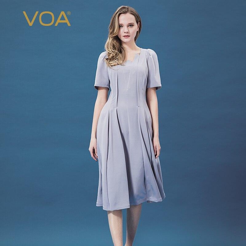 VOA nouvelle robe en soie lourde micro élastique élégant tempérament taille slim robe A10269