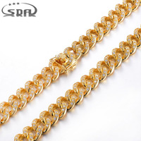 Top Brass With CZ And Gold Plating Necklaces For Men Long Chain Crystal Necklace Fashion Men