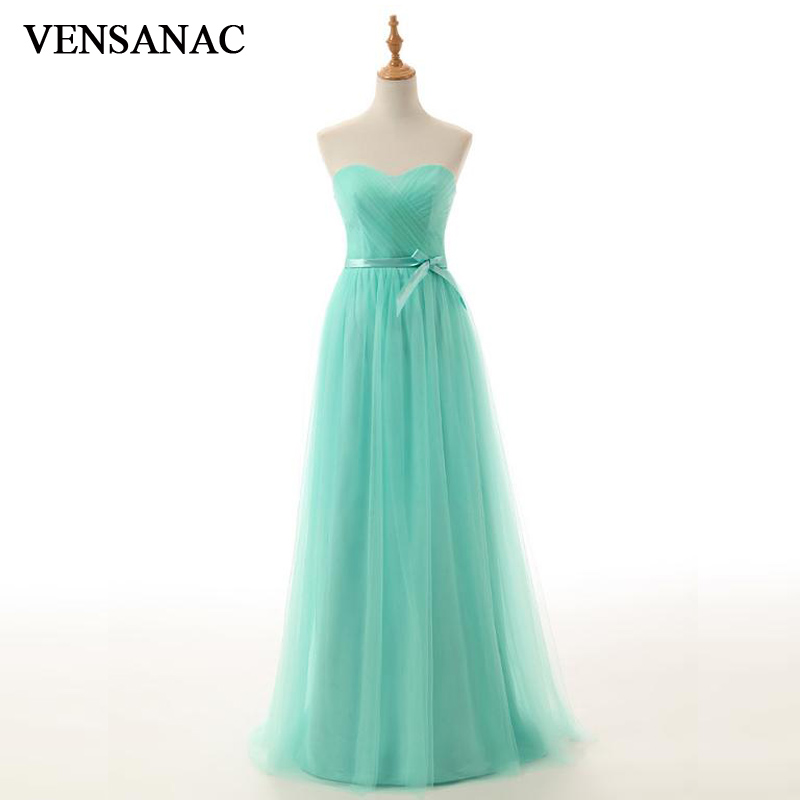 VENSANAC 2018 A Line Strapless Bow Sash Tulle Long Evening Dresses Party Pleat Backless Off The Shoulder Prom Gowns