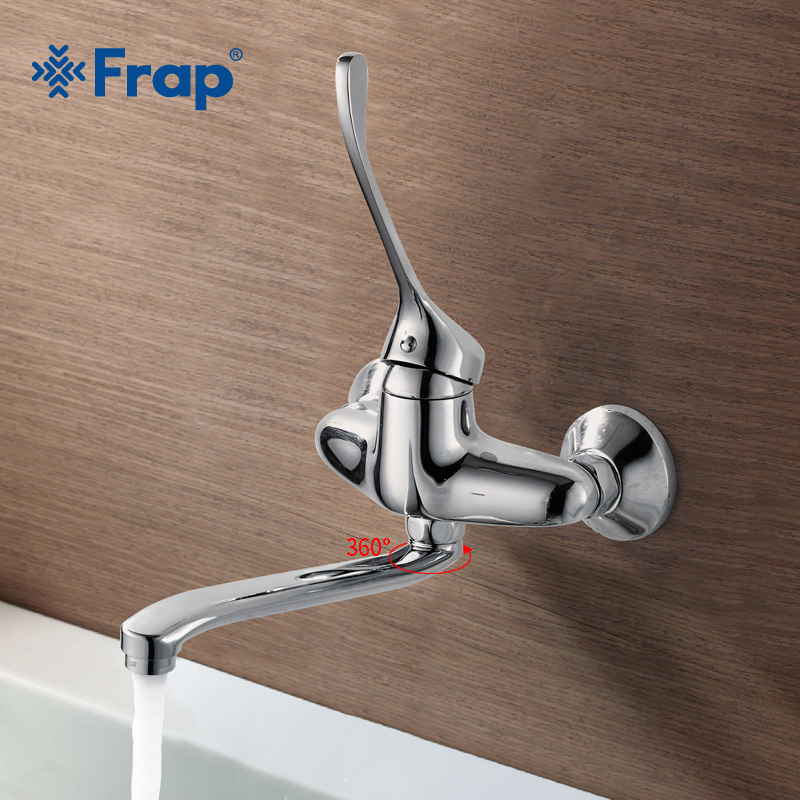 FRAP silver Brass Bathroom wall mounted shower faucet hot and cold taps medical faucet long handle water taps for bathroom F4654 frap wall mounted shower bathroom faucet cold