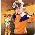 Anime Naruto Uzumaki Infância Cosplay roupas Traje dos desenhos animados jaqueta calças headband do