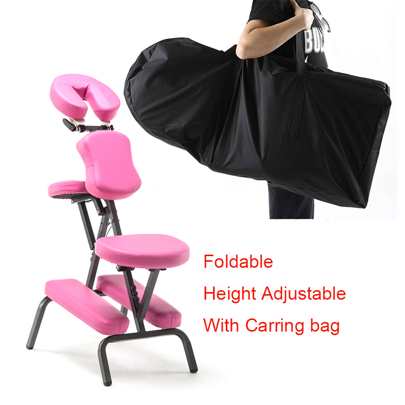 A Folding Height Adjustable Tattoo Scraping Chair Portable Leather Pad Massage Chair with Armrest Quality Beauty Bed with Bag