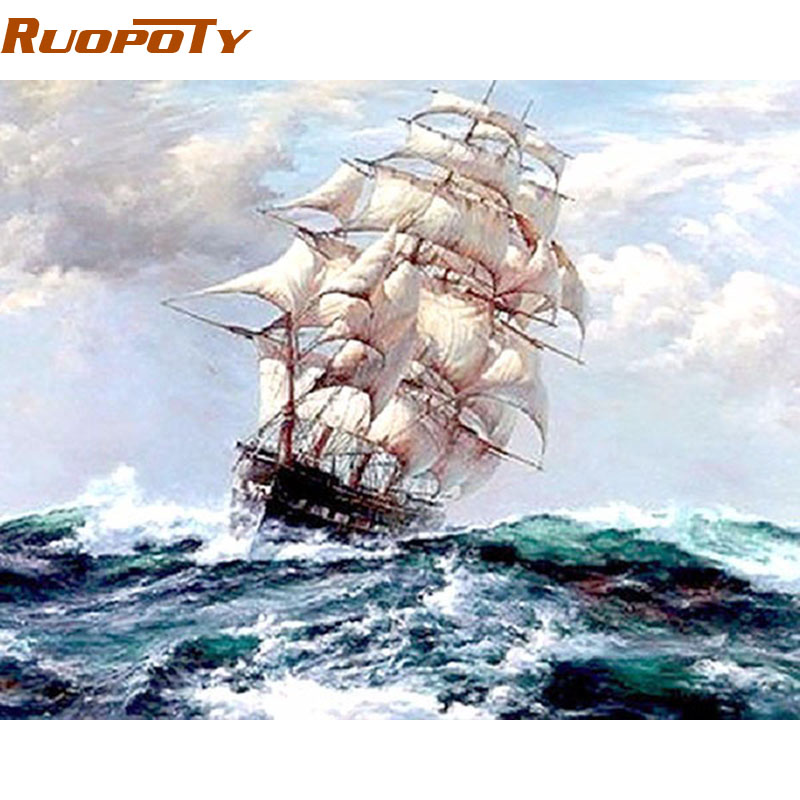 RUOPOTY Frame Sailing Boat Diy Painting By Numbers Handpainted Home Decor Wall Art Picture Canvas Painting For Living Room 40x50