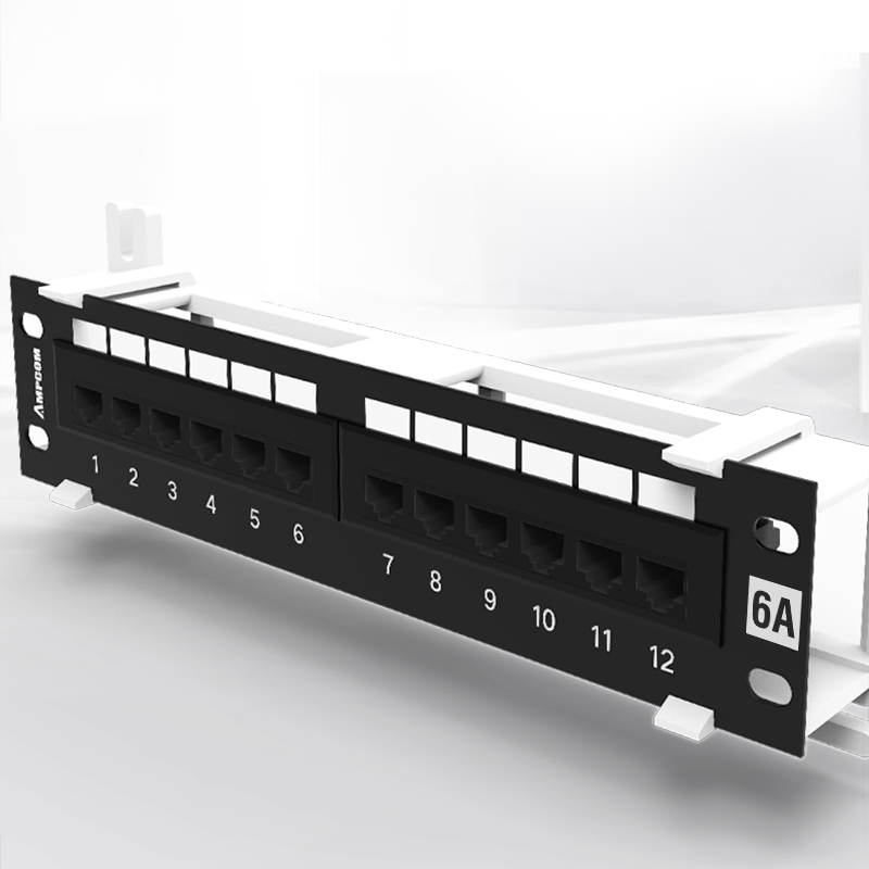 Image 5 - AMPCOM 12 Port Cat6A / Cat6/ Cat5E UTP Mini Patch Panel with Wallmount Bracket Included BlackComputer Cables & Connectors   -