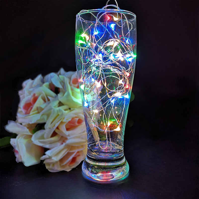 Silver Wire Wine Bottle Lights With Cork Built In Battery LED Cork Shape Silver Colorful 2M 20 LEDS Fairy Mini String Lights