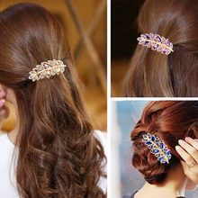 Leaves Hairpin Hair Clip for Women Lady New Special Crystal Card Multicolor Buckle Fashion Jewelry Hair Accessories 8Z-AA132