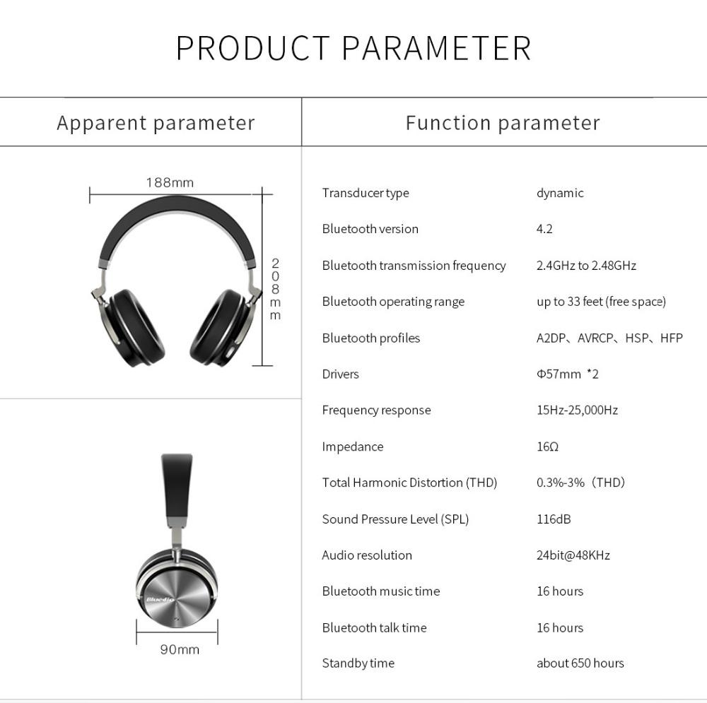 T4 bluedio aktywny hałasu anulowanie słuchawki bezprzewodowe bluetooth bezprzewodowy zestaw słuchawkowy z mikrofonem 15