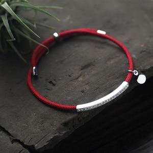 Image 3 - La Monada אדום לידי 925 סטרלינג כסף צמיד אדום חוט מחרוזת חבל צמידים לנשים כסף 925 סטרלינג