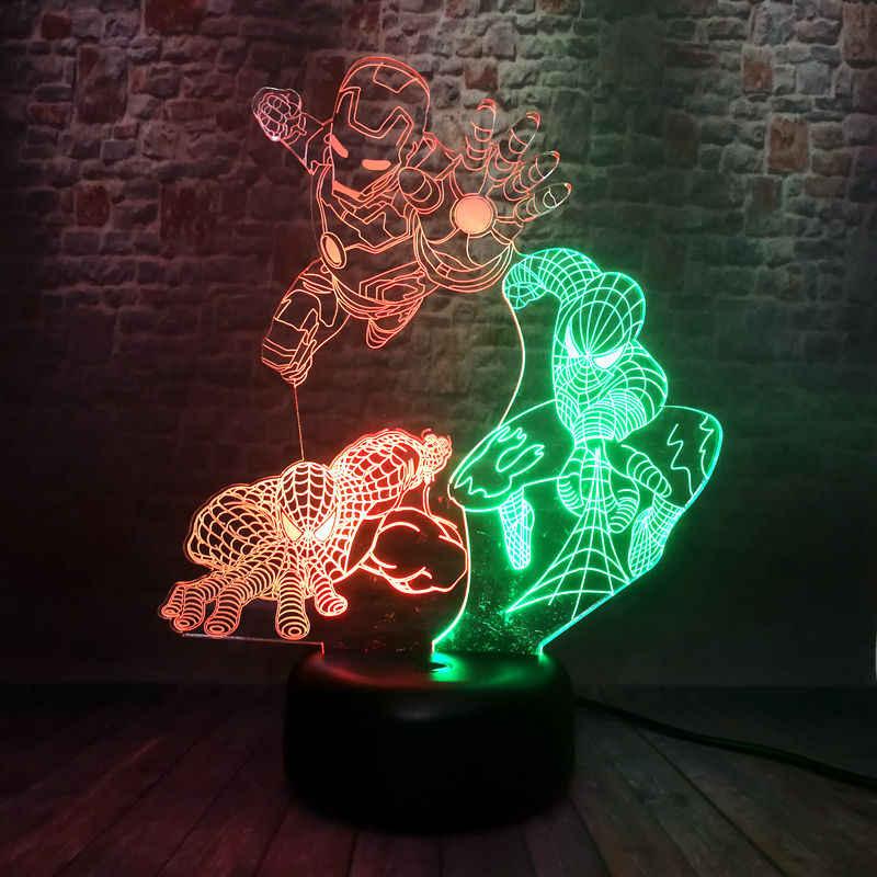 Vingadores de Super-heróis Homem De Ferro Figma 3D Ilusão Flutuante Cores Misturadas Flash de Luz Noturna LEVOU 7 Siderman Brinquedo Figura