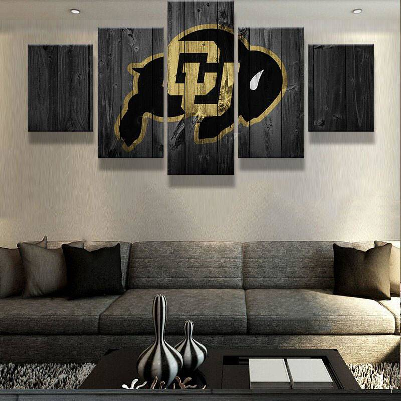 5 Panel Colorado Buffalos Sports Team Logo Modern Home Wall Decor Canvas Picture Art Hd Print Painting On Canvas For Living Room
