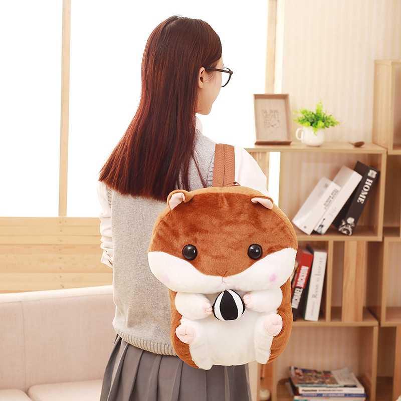 Na venda hamster de pelúcia mochila Japonês bonito hamster de pelúcia mochila crianças de pelúcia brinquedo do bebê saco de escola dos meninos presente para pouco menina