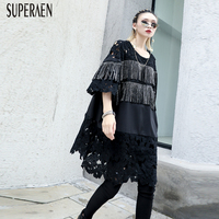 SuperAen 2019 Spring and Summer Pluz Size Women's T Shirt Lace New Fashion Tassel T Shirt Female Round Neck Women Clothing