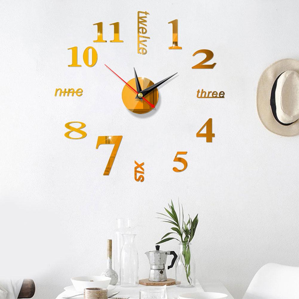 Wall Clock Simple Art Bedroom Accessories DIY Digital Display Watch European Style Modern Large Home Use 3D Stickers