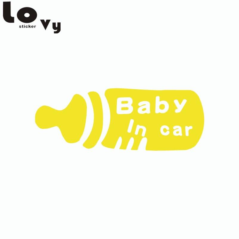 Ребенок в машине Предупреждение знак автомобиля Стикеры мультфильм бутылки молока Винил Автомобильный этикета