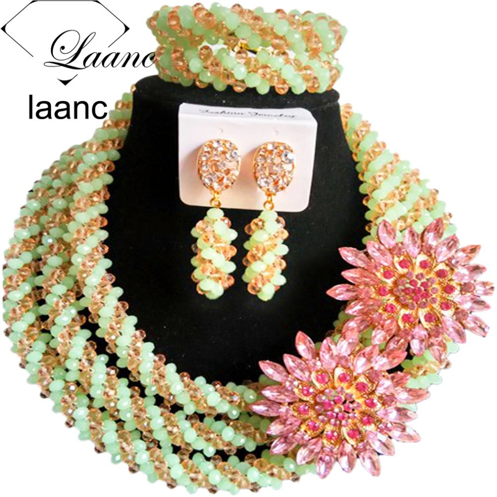 Big Chunky Crystal African Necklace Set Beads Mint Green Peach Women Costume Jewelry Set For Nigerian Wedding AL162Big Chunky Crystal African Necklace Set Beads Mint Green Peach Women Costume Jewelry Set For Nigerian Wedding AL162