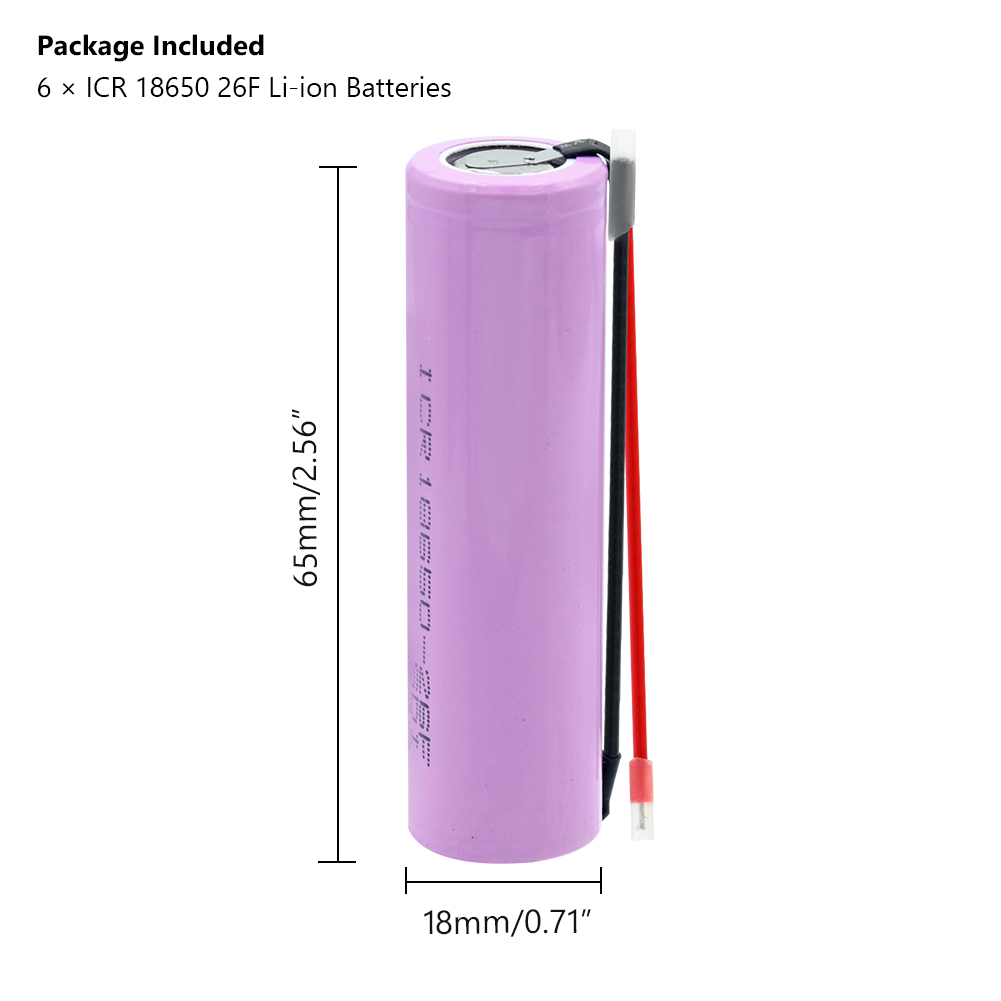 18650 Battery for samsung 18650 Battery 3 7v Rechargeable batteries 2600maH Li ion ICR18650 26F Battery Max 20A for flashlight in Replacement Batteries from Consumer Electronics