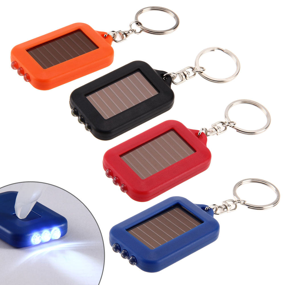 Keychain Solar Power LED Flashlight Light Torch for Hiking Camping Lamp Portable