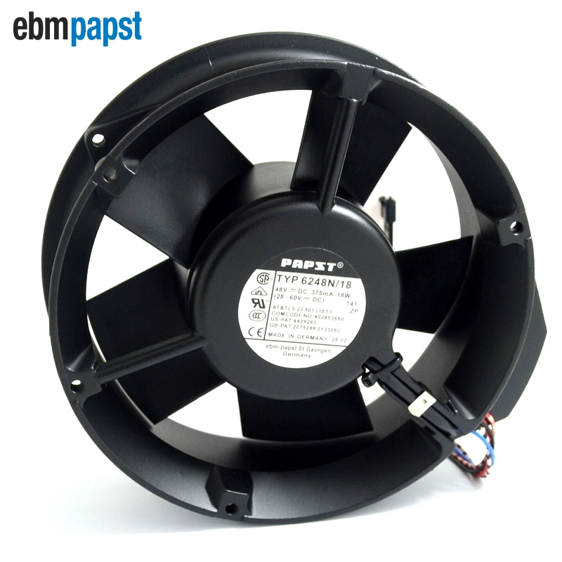 ebm papst 6248N/18 DC 48V 375mA 5-wire 6-pin connector 120mm Server Cooling Round fan delta ffb1248ehe f00 dc 48v 0 75a 2 wire 2 pin connector 120x120x38mm server square fan