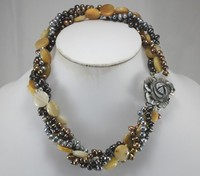 FREE SHIPPING>>>@@ > wholesale 18 mixed colors shell pearl and semi precious stone nacklace