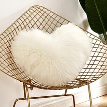Throw Pillow Case Heart ShapedNew Plush Furry Home Bed Room Decor  D20