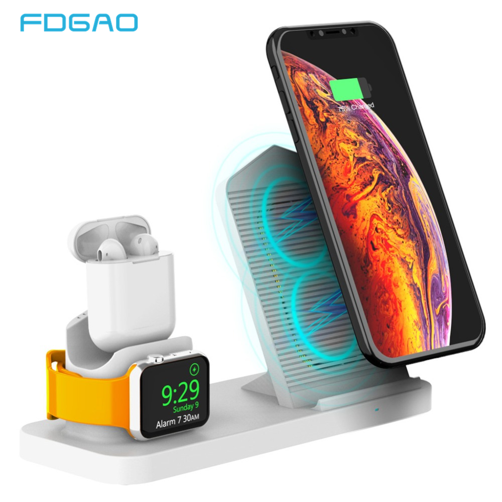 FDGAO 3 in 1 Qi Wireless Charger For iPhone XS Max XR XS X 8 10W Fast Charging Dock Pad For Apple Watch 2 3 4 Samsung S10 S9 S8|Mobile Phone Chargers| |  - title=