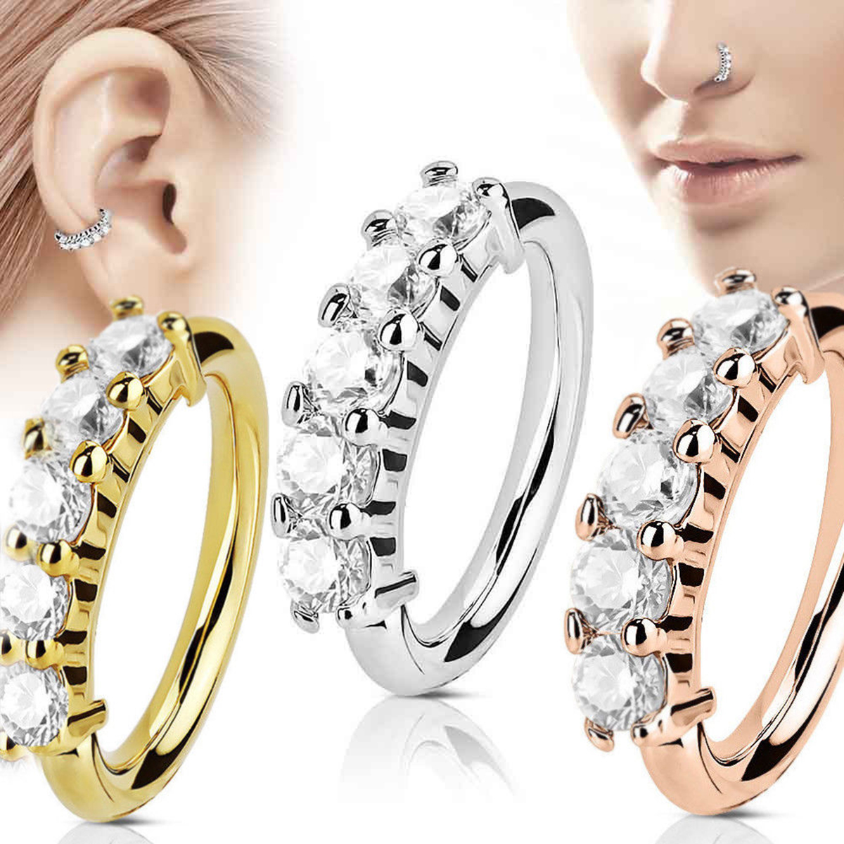 Shellhard Trendy 5 Crystals Nose Ring Vintage Rhinestone Stainless Steel Nose Hoop Ring For Women Femme Jewelry Bijoux