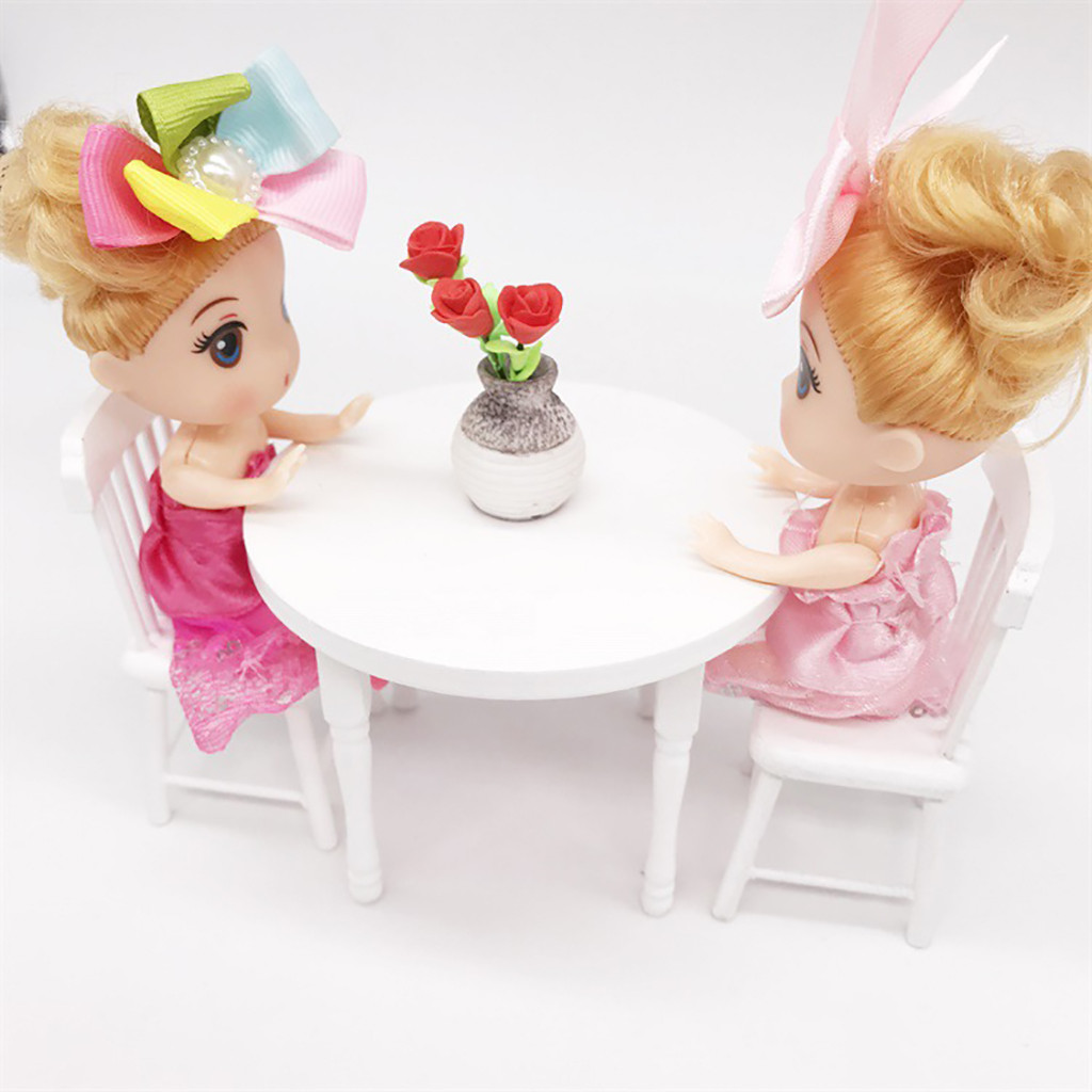 1:12 Dollhouse Miniature Furniture White Color Round Dining Table Chair Set Doll House Accessories Simulation Kids Toy C#