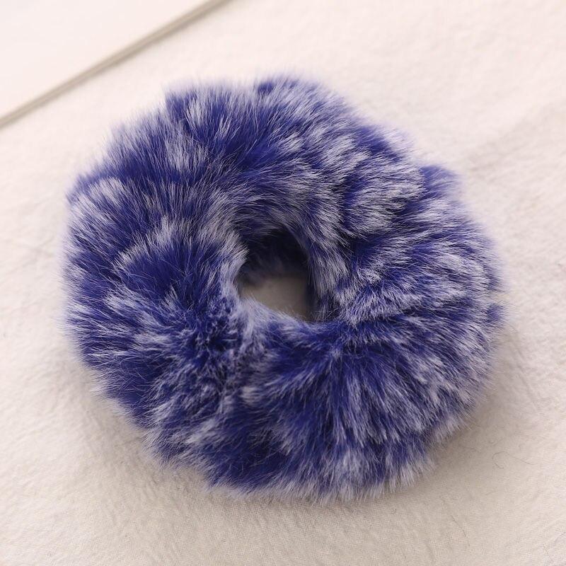 AIKELINA/Новинка; зимняя теплая мягкая резинка для волос из искусственного кроличьего меха для девочек и женщин; аксессуары для волос; Детская резинка; головной убор - Цвет: Royal Blue