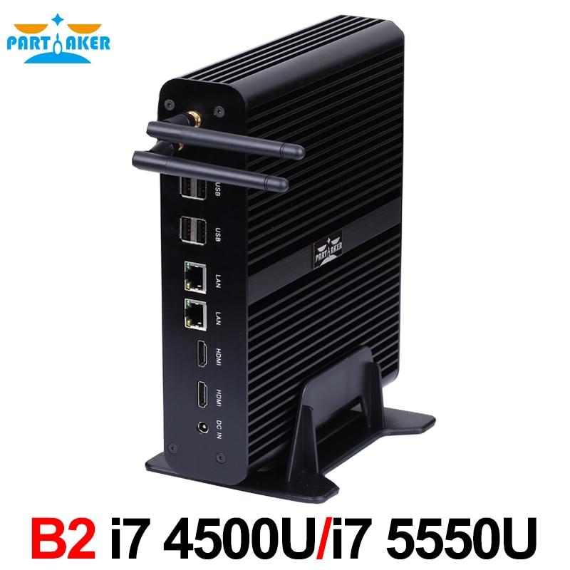 Partaker B2 Fanless Mini PC Windows Linux Intel Core i7 5500u i7 - Мини компютър - Снимка 4