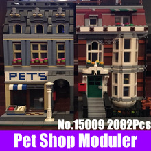 LEPIN 15009 2082Pcs City Street Pet Shop Model Building Kits Blocks Bricks Compatible 10218 DIY Educational Children Gift Toys