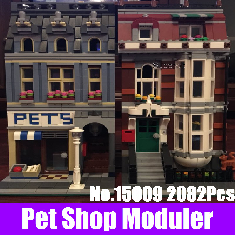LEPIN 15009 2082Pcs City Street Pet Shop Model Building Kits Blocks Bricks Compatible 10218 DIY Educational Children Gift Toys 10646 160pcs city figures fishing boat model building kits blocks diy bricks toys for children gift compatible 60147