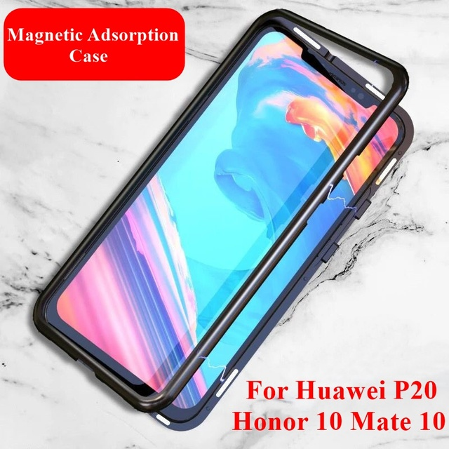 huge discount 9f294 7440d US $5.59 20% OFF|Magnetic Adsorption Case For Huawei P20 Pro Nova 3i 3a  Metal Bumper Cover Tempered Glass Case For Huawei Mate 10 Pro Honor 10 -in  ...