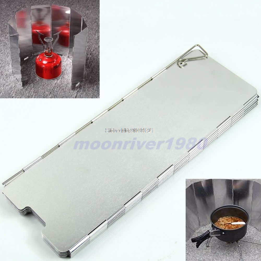 8 Plates Fold Outdoor Camping Stove Wind Shield Screen BBQ Cookout Windbreak New