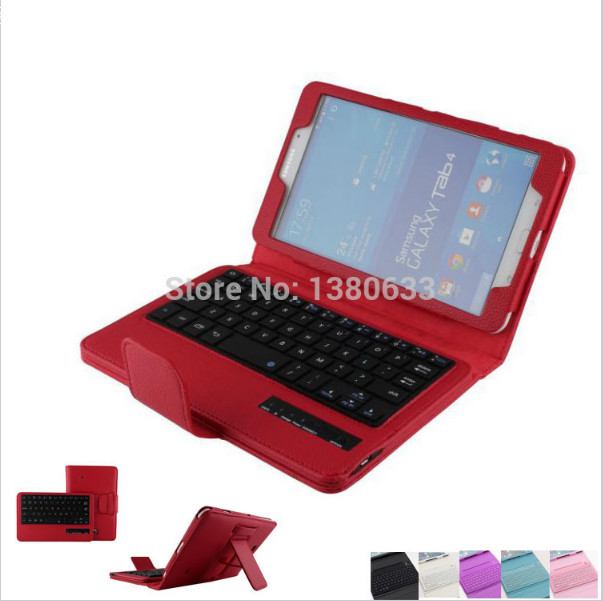 ФОТО For Samsung Galaxy Tab 4 8.0 Tablet T330 T331 T335 Silicone Bluetooth Keyboard with Protective PU Leather Stand Case Cover