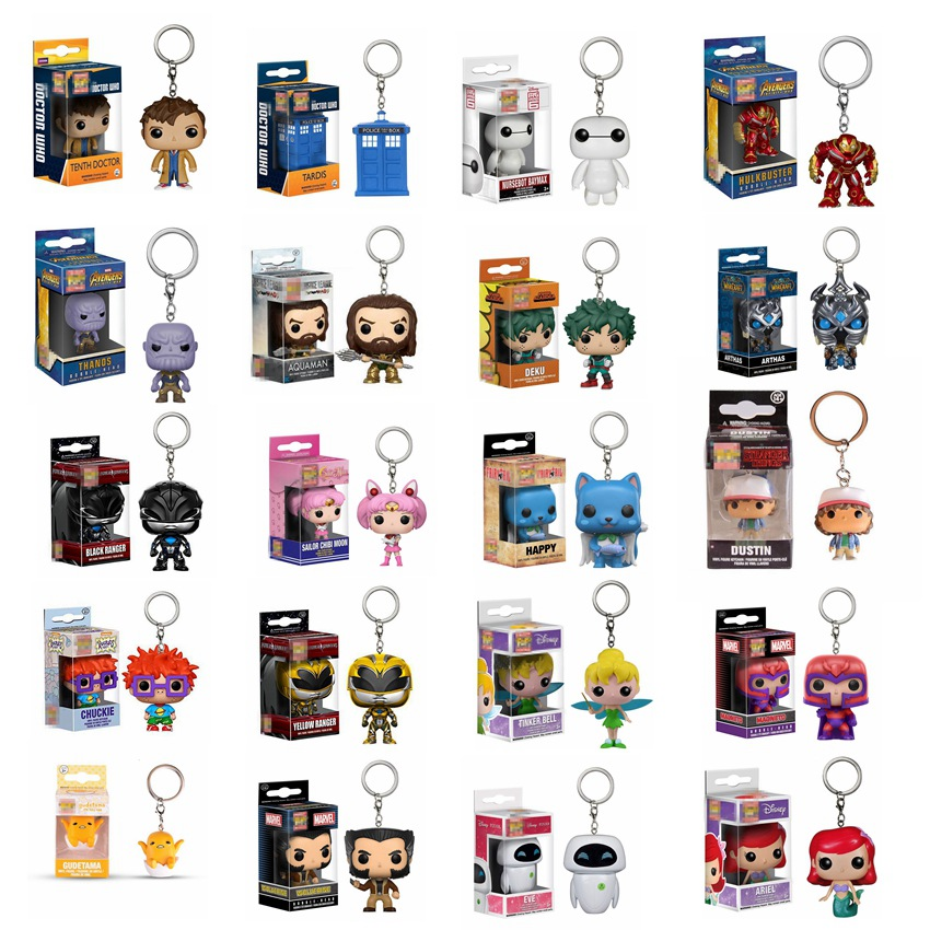 POP Action Superheros Figure Keychain Toys Marvel THANOS HULKBUSTER X MEN Magneto Wolverine DC Wonder Women