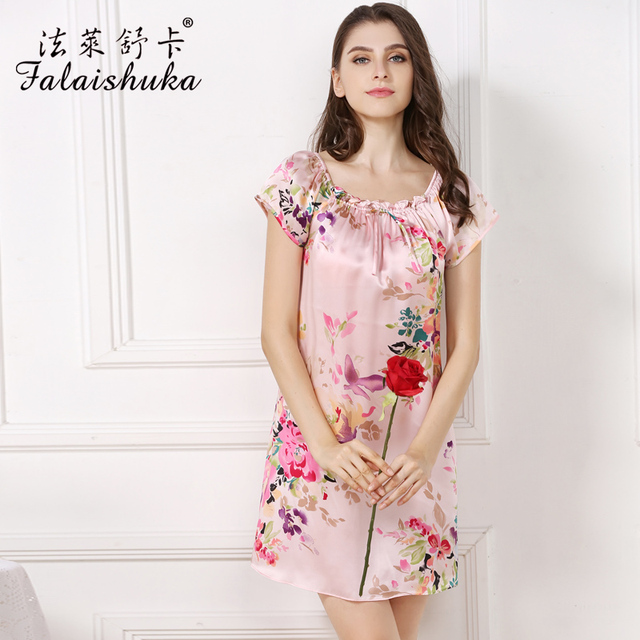 women 100% silk Sleepshirt flower print sexy fashion summer 2019nightgowns&sleepshirts 2xl woman silk sleep&lounge big size
