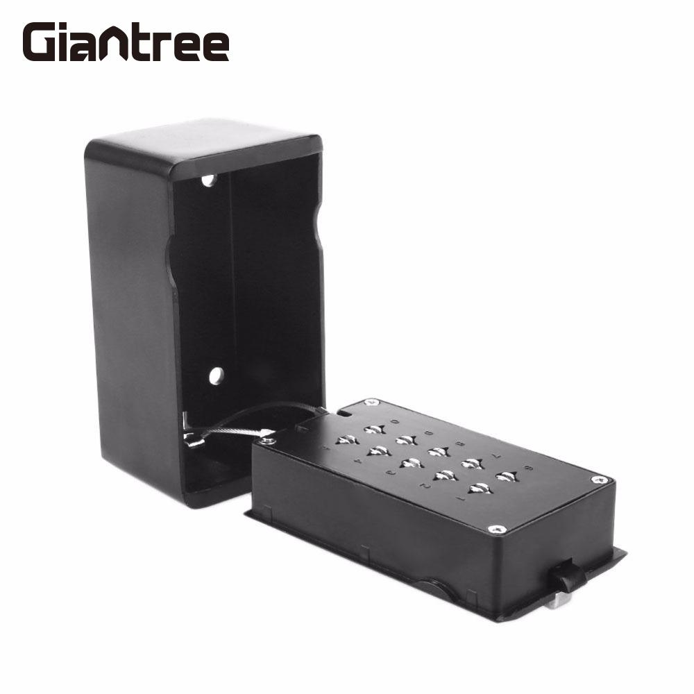 giantree KS006 Storage Organizer Boxes With 4 Digital Wall Mounted Keys Hook Metal Alloy Portable Key Safe Box Storage Money hot sale 2017 cost effective best price lockable security metal key cabinet storage box safe 20 tags fobs wall mounted