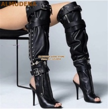 ALMUDENA Punk Stylish Black Leather Over-the-knee Boots Buckle Strap Studded Long Open Toe High Heel Size47