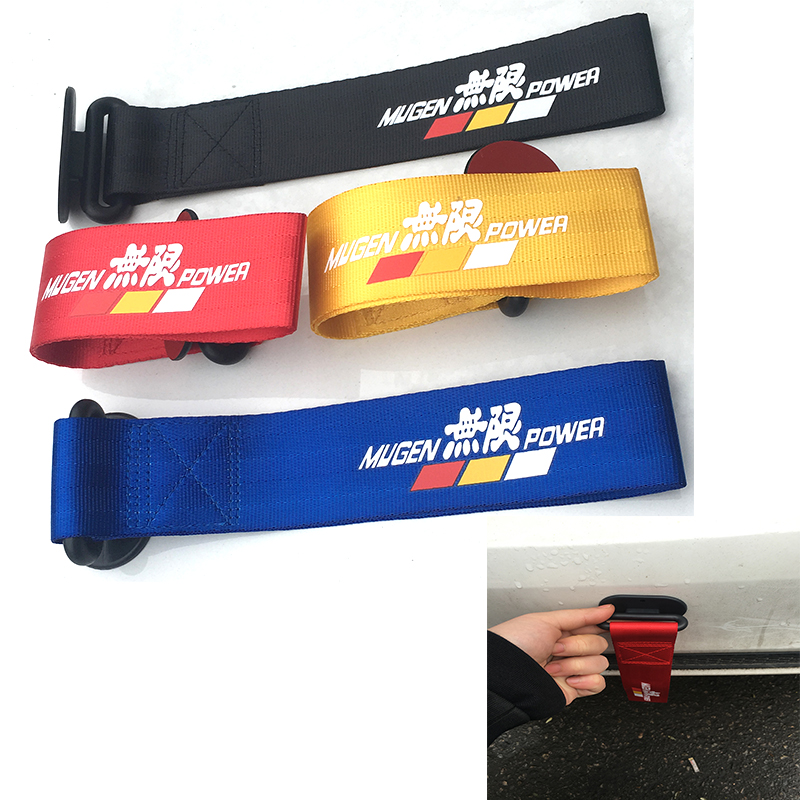 Mugen Universal Racing Car Red Blue Tow Eye Strap Decorative Tow Strap Bumper Trailer With Sticker For Jazz Civic Focus