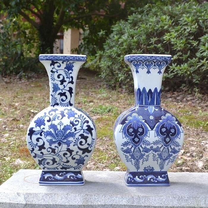 Commerce extérieur nouveau chinois bleu et blanc porcelaine vase porcelaine vase ameublement plat carré salon décor