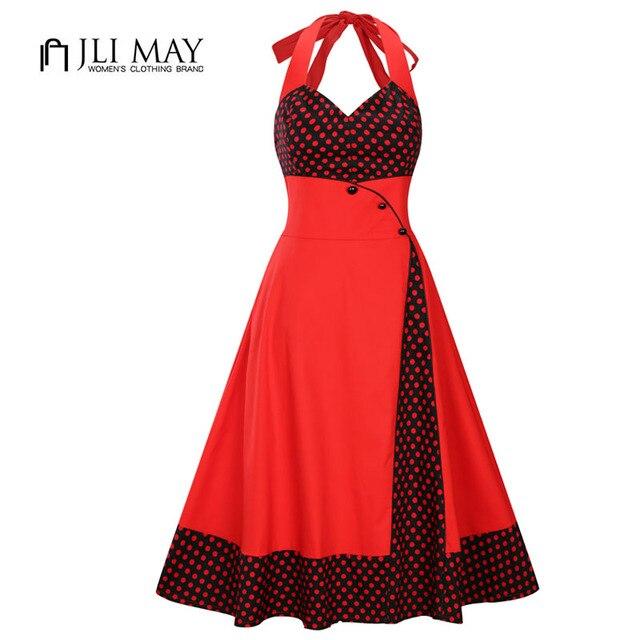 JLI MAY women Halter polka dot dress summer sexy Vintage evening party  patchwork v-neck sleeveless Knee-Length swing 50s Hepburn e33ee8bd6d4b