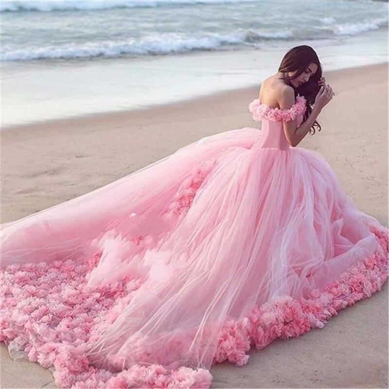 Vestidos de novia 2017 de Nubes de Color rosa Foto de Largo de Tul ...