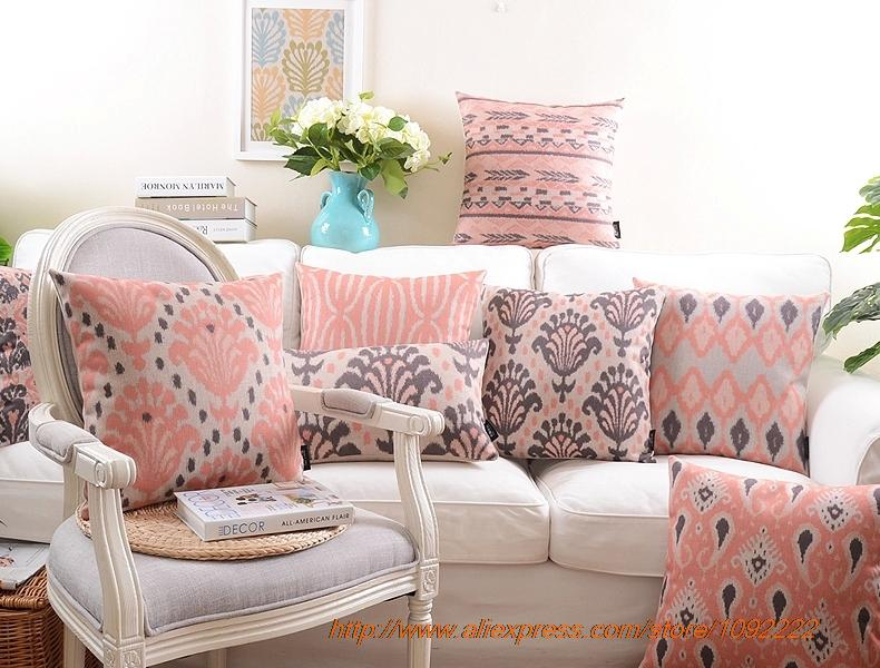 Nordic red decorative pillows,Pink geometry plaid series cushions ...