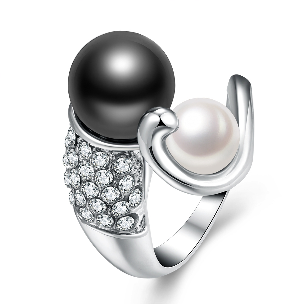 2017 Fashion Gift Jewelry Rings For Women White And Black Pearls Female Ring  Double Imitation Pearl
