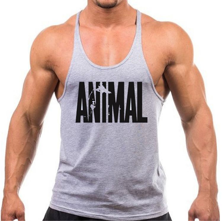Fitness!2018 Summer Style Cotton Animal Gyms   Tank     Top   Men Sleeveless   Tops   Bodybuilding Clothing Sportwear Stringer Shirts