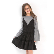 Teen Girls Childrens Dress Cotton Long-sleeved Autumn Pettiskirt Princess Flare Sleeves Fake Two pieces of Stitching 2018 Girl