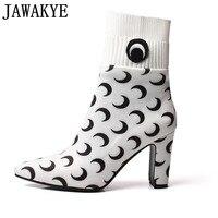 Осень эластичная ткань женская обувь черного и розового цвета ботильоны на высоком каблуке Луна pattern 2018 носок женская обувь Botines Mujer туфли ло